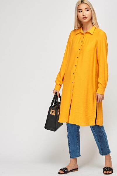 Orange Long Line Oversized Shirt