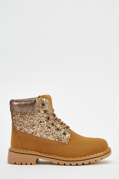 Glitter Contrast Boots