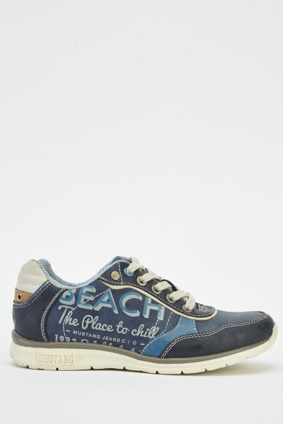 Navy Faux Leather Trainers