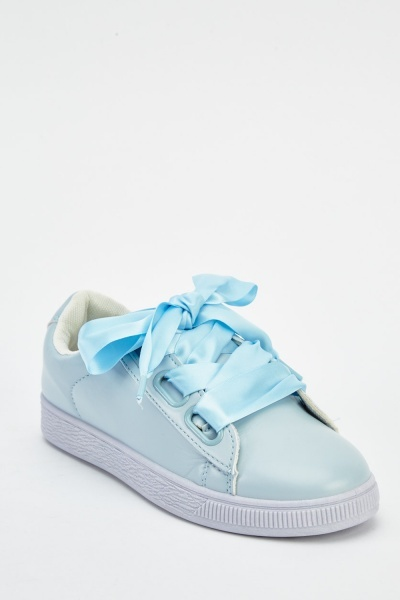 Ribbon Lace Up Faux Leather Trainers