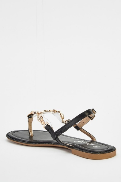 T-Bar Embellished Sandals