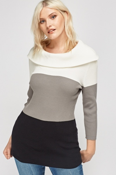 Colour Block Cowl Neck Jumper