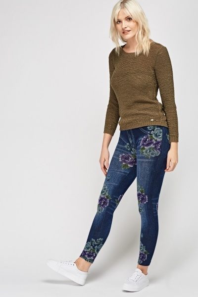 Printed Dark Blue Leggings