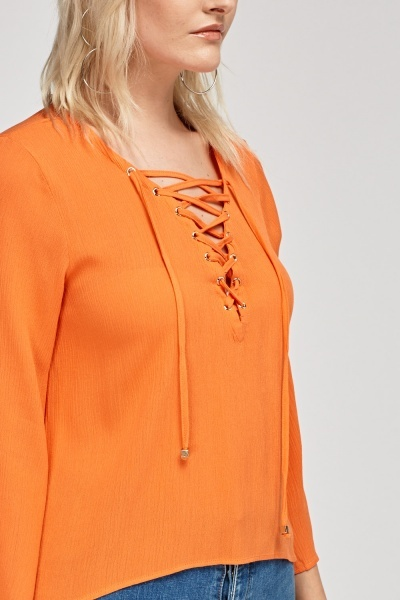 Tie Up Neck Orange Top