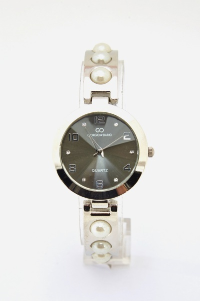 Faux Pearl Metal Strap Watch