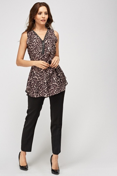 Leopard Print Zipped Neck Top