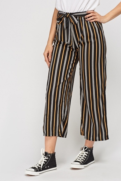 Striped Tie Up Waist Trousers