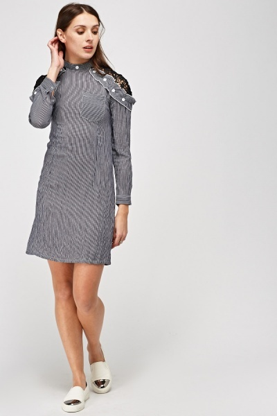 Crochet Insert Pinstriped Dress