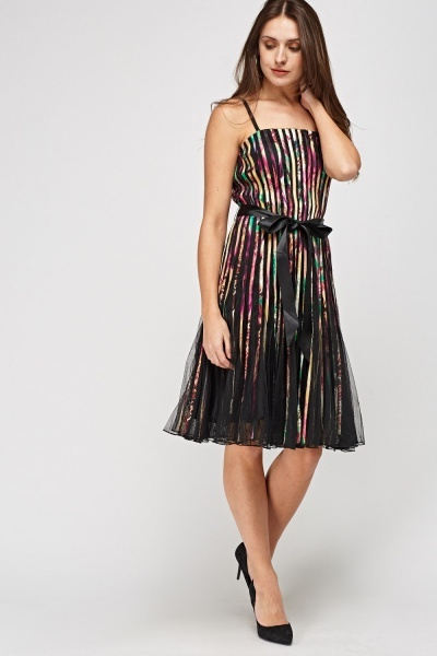 Pleated Mesh Printed Dress