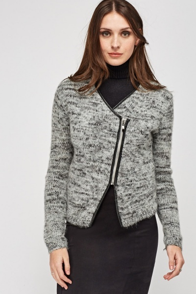 Speckled Knitted Zipped Jacket