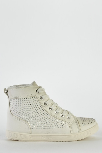 Faux Leather Encrusted High Top Trainers