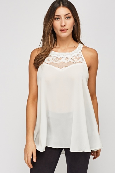Embellished Lace Insert Top