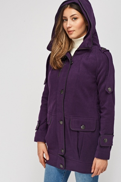 Hooded Button Detailed Jacket