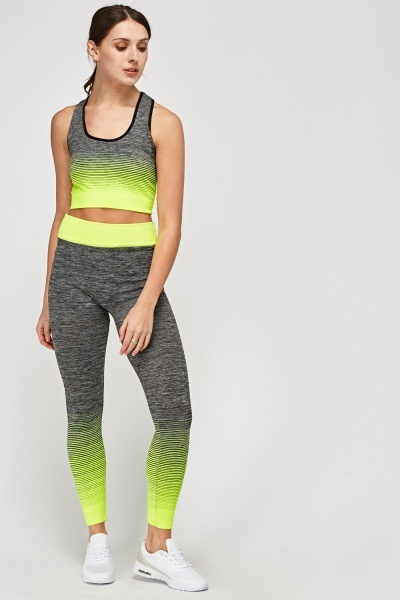 Sports Crop Top And Leggings Set