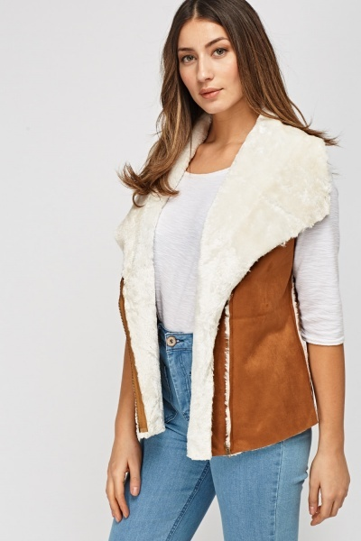 Suedette Teddy Bear Fur Gilet