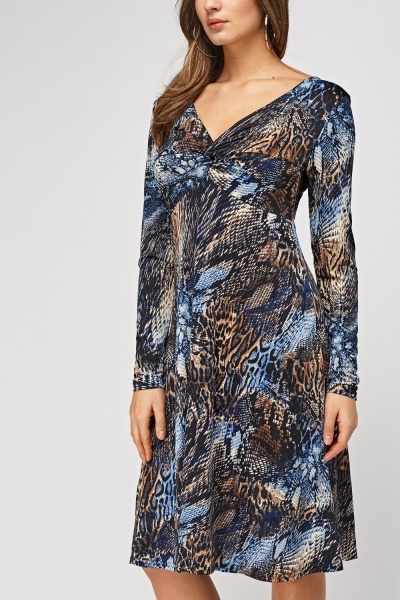 Twist Front Animal Printed Dress
