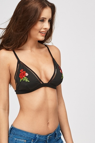 Applique Triangle Bikini Top