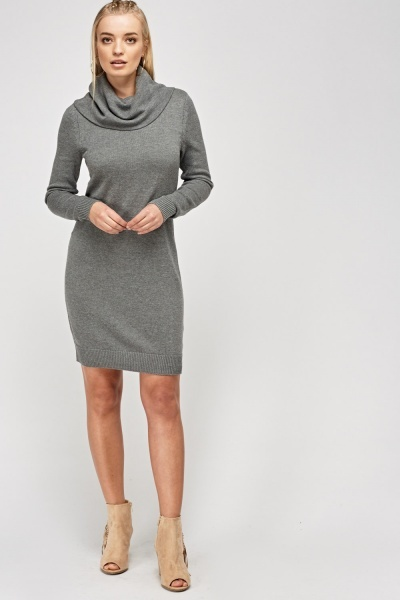 Cowl Neck Knitted Jumper Dress