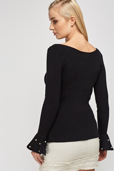 Faux Pearl Trim Flare Sleeve Knitted Top