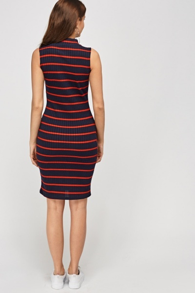 Ribbed Striped Dress