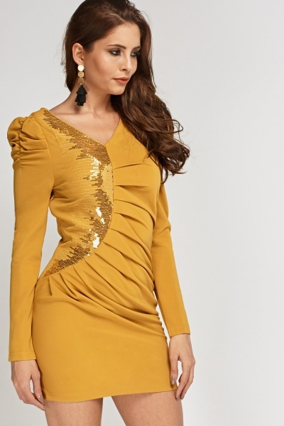 Ruched Sequin Insert Dress