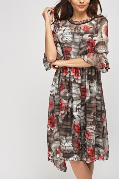 Sheer Floral Frilled Hem Dress