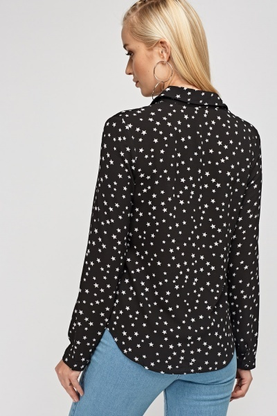 Star Printed Lace Up Blouse