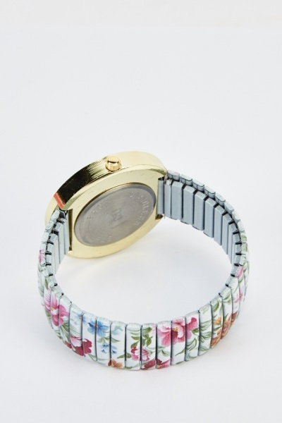 Floral Encrusted Bracelet Watch