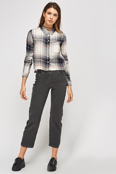 Ankle Cropped Denim Jeans