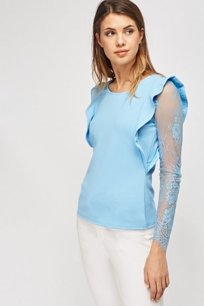 Blue Lace Sleeve Top
