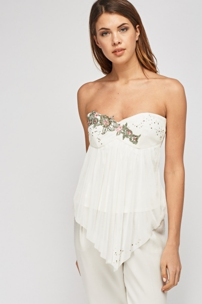 Corset Back Bandeau Embroidered Top
