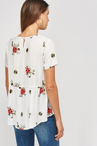 Embroidered Flare Hem Top