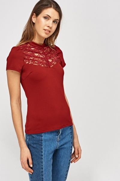 Lace Insert Front Top