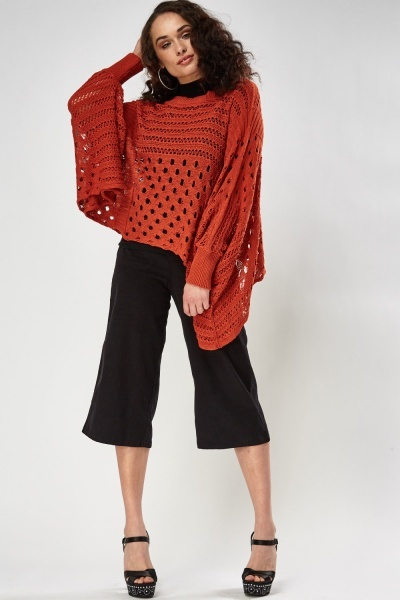Loose Knit Batwing Sleeve Poncho