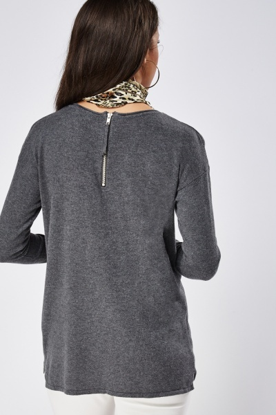 Zip Back Thin Sweater
