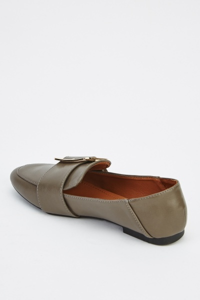 Buckle Detail Faux Leather Loafers