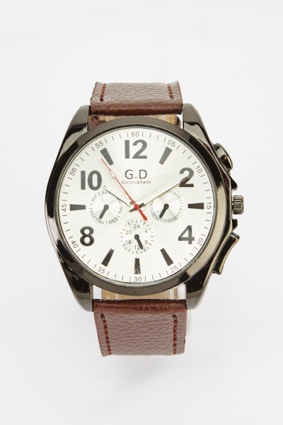 Chronograph Faux Leather Strap Watch