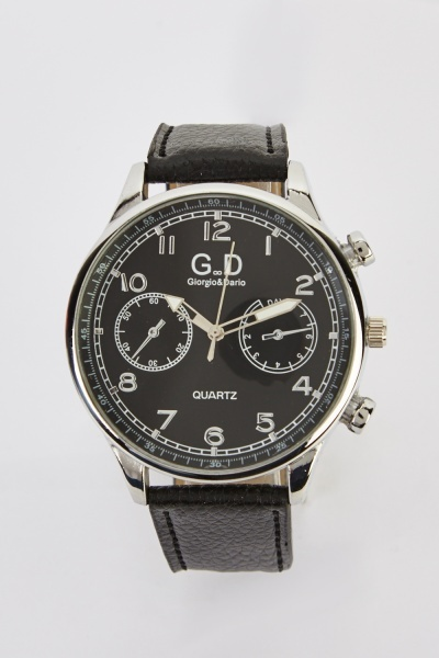 Faux Leather Strap Mens Chronograph Watch