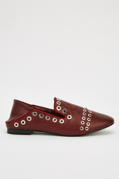 Studded Faux Leather Slip On Shoes
