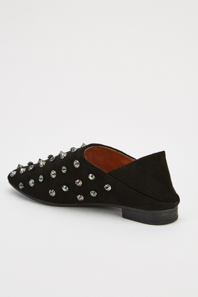 Studded Suedette Flat Shoes