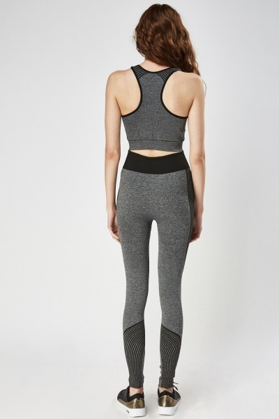 Contrast Speckled Sports Crop Top And Leggings Set