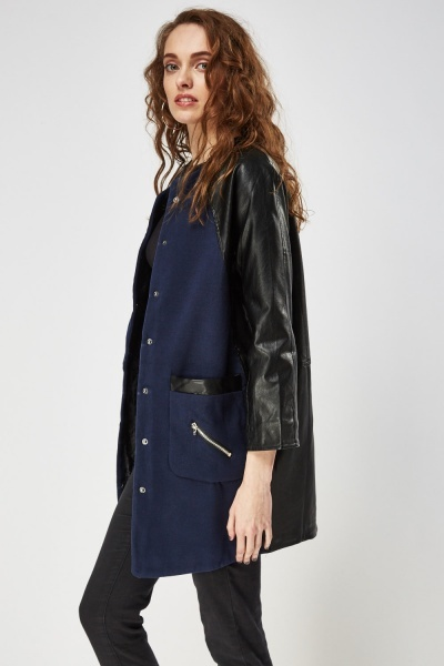 Faux Leather Trim Casual Jacket