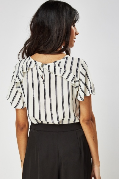 Frilled Trim Striped Top