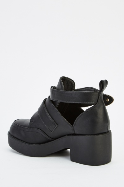 Buckle Cut Out Side Faux Leather Shoes