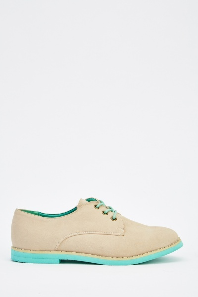 Contrast Lace Up Suedette Shoes
