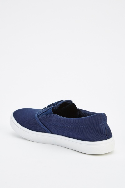 Detailed Front Canvas Slip On Shoes