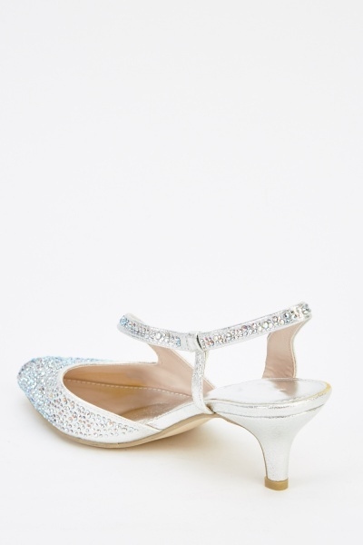 Encrusted Diamante Court  Heels