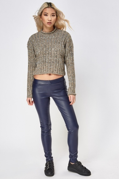 Low Raise Faux Leather Skinny Trousers