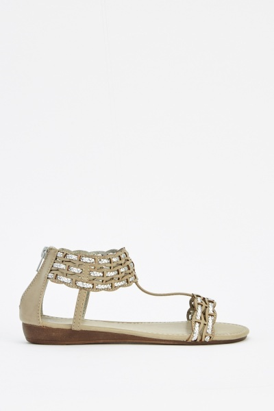 Plait Contrast T-Bar Sandals