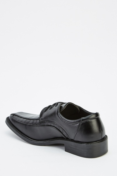 Square Toe Faux Leather Contrast Shoes